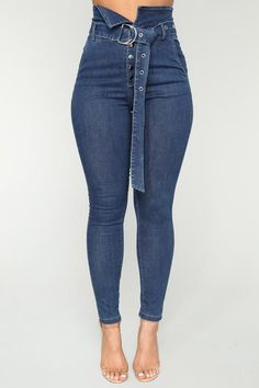 Make It Obvious Belted Skinny Jeans - Dark Denim Outfit Jeans, Dungaree Jeans, Faded Jeans, Ripped Jeggings, Ripped Skinny Jeans, Beste Jeans, Most Comfortable Jeans, Best Jeans For Women, Woman Fashion