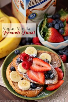 Deliciously easy vegan vanilla French toast for breakfast or brunch.  #Silkbloom #ad