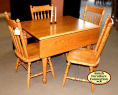 Oak Drop Leaf Table With 4 Cattail Side Chairs; Bellefonte, PA