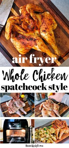 Best Air Fryer Whole Chicken Spatchcock Style Dinner Recipe - - Best Air Fryer Whole Chicken Spatchcock Style Dinner Recipe Air fryer Beste Air Fryer Whole Chicken Spatchcock Style Abendessen Rezept Fryer Chicken Recipes, Air Fryer Dinner Recipes, Air Fryer Recipes Easy, Recipes Dinner, One Person Meals, Spatchcock Chicken, Easy Meals, Healthy Recipes, Healthy Eats