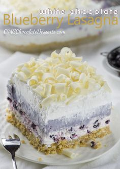 Who ever created this cake needs an award, and a hug! Maybe even elected president though I would add a layer of lavender cream to it . http://omgchocolatedesserts.com/white-chocolate-blueberry-lasagna/