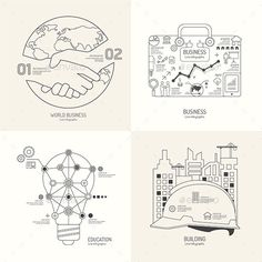 Flat Line Infographic World Business Bag Concept