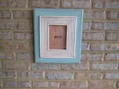 5X7 handmade turquoise wooden picture frame by BigEyedFishDesigns, $40.00