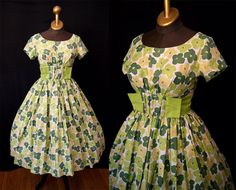 Darling 1960's Green floral print polished cotton new look day dress spring day party dress rockabilly Kerry brooke - size Small by wearitagain on Etsy https://www.etsy.com/listing/129309416/darling-1960s-green-floral-print