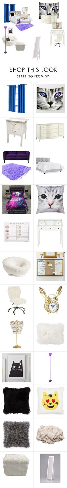 """""""Bedroom"""" by catty-glitter-girl on Polyvore featuring Fiesta, PBteen, M&Co, Pusheen, Home Decorators Collection, Lite Source, Levtex and bedroom"""