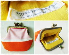 Coin Pouch, Exterior and interior 100% cotton. Fully interfaced with with viezeline. Dim. 14x11 cm