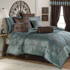 photos with brown, gray, teal, yellow | ... color comforter set would go with gray blue walls and white furniture