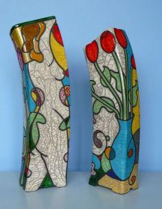 Tony White - Blue Vase, Tulips & Eve. Rectangular Vase Type Form, extruded & hand built rim & base. 36cms Ht. Fired using the Raku process