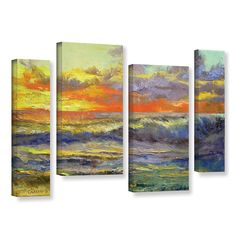Califonia Dreaming by Michael Creese 4 Piece Painting Print on Gallery Wrapped Canvas Set