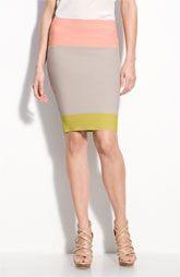 BCBGMAXAZRIA Colorblock Bandage Pencil Skirt