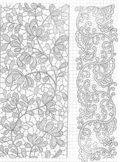 Lace design - Advanced linerwork maybe one day. Lace Embroidery, Cross Stitch Embroidery, Embroidery Patterns, Lace Applique, Irish Crochet, Crochet Lace, Russian Crochet, Doilies Crochet, Bobbin Lace Patterns
