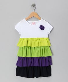 Take a look at this Yellow & Green Tiered Ruffle Dress - Toddler & Girls by S.W.A.K. on #zulily today!