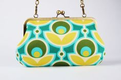 Little handbag - Primrose in basil - metal frame purse with shoulder strap. $60.70, via Etsy.