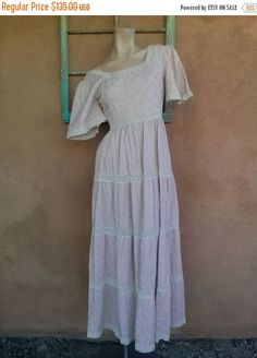 ON SALE Vintage 1960s Mexican Pintuck Dress Pink Tipicano US 6 B35 W27 #rose #pink #maternity #1960s #MaidOfHonor #BeachWedding #pintuck #hippie #BohoBride #mexican
