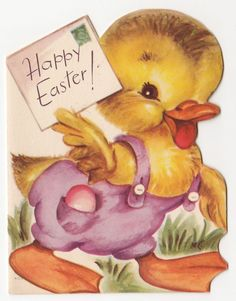 Vintage Greeting Card Easter Cute Chick Die-Cut Rust Craft 1950s a160