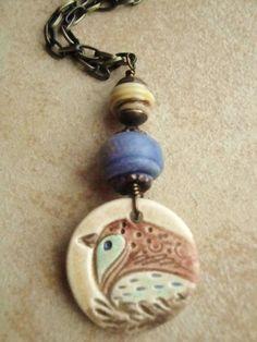 Ceramic Pottery Bird Denim Artisian Glass bronze long necklace