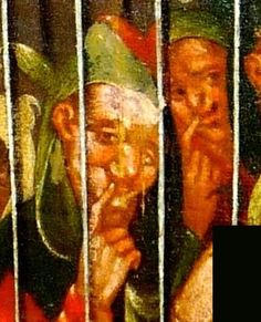 """detail from the Paycocke's House """"Allegory of Folly"""" (French, c.1600) -- the painting is full of significant gestures -- here, the finger in the mouth which I suggest owes its origin to the drooling of the 'natural' idiot . Note that the same gesture is made by one of the two """"Nous sommes trois"""" fools.[other and earlier examples of this gesture to follow] -- photo by Alison Forrest, copyright National Trust. LOTS MORE PIX OF THIS REMARKABLE YET UNKNOWN PAINTING ON MY IMAGES OF THE FOOL BOARD"""