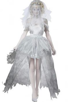 White Sexy Adult Corpse Bride Of Chucky Costume.#2015 Cute Halloween #Costumes #Fashion #Women Diy Homemade Creative,#Cheap #Sexy Halloween Costumes For Teens. pinkqueen.com