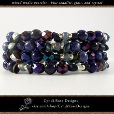 Items similar to Memory Wire Coiled Beaded Bracelet - Cuff Width - Blue Sodalite Gemstones - Faceted Glass Crystals - Clear, Silver, Frosted Blue Seed Beads on Etsy Faceted Glass, Glass Beads, Cuff Bracelets, Bangles, Beaded Jewelry, Unique Jewelry, Rose Design, Deep Blue, Seed Beads