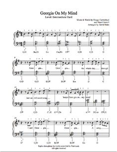 Georgia On My Mind by Ray Charles Piano Sheet Music | Intermediate Level Hard Music, I Love Music, Fun Music, Ray Charles, Piano Sheet Music, Music Sheets, Guitar Chords For Songs, Piano Lessons, Art Lessons