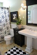 love the black + white + green...the whole feel of this bathroom