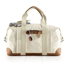 Mark & Graham Canvas and Leather Weekender Bag, Natural ($199) ❤ liked on Polyvore featuring bags, natural, monogram canvas bag, monogrammed overnight bags, monogrammed bags, leather weekender bag and weekend bag