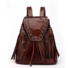 Bolso de viaje retro en línea remaches mochilas de cuero Vintage con flecos para las mujeres [VL10480] - €60.58 : bzbolsos.com, comprar bolsos online