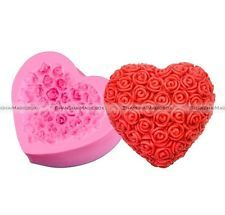 Candle Heart Mold Fondant DIY Mould Rose Craft 3D Silicone Sugar Cake Soap