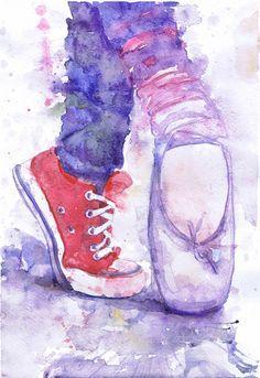 Impresión de bailarina, Ballet Pointe zapatos acuarela arte Ballet regalos acuarela pintura de bailarina, bailarines arte, regalo para bailarín de danza Converse