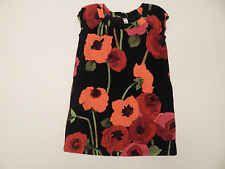 Girls Gap Kids Corduroy Red Orange Black Floral Cap Sleeve Dress Size Medium