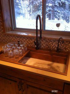 very unique custom corner sink made of domestic copper by rachiele