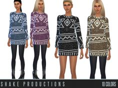 The Sims Resource: Wool Dress 47 by Shake Productions The Sims, Sims Cc, Sims 4 Clothing, Female Clothing, Sims 4 Update, Sims Resource, Wool Dress, Clothes For Women, Sweaters