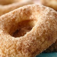 Grands Baked Sugar Donuts Recipe ~ so easy and yummy. made with Pillsbury® Grands! Sugar Doughnut Recipe, Baked Donut Recipes, Baked Doughnuts, Bread Recipes, Casserole Recipes, Baking Recipes, Chicken Recipes, Canned Biscuit Donuts, Canned Biscuits