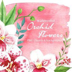 Watercolor Orchid Flowers  digital printable by Scrapstorybook