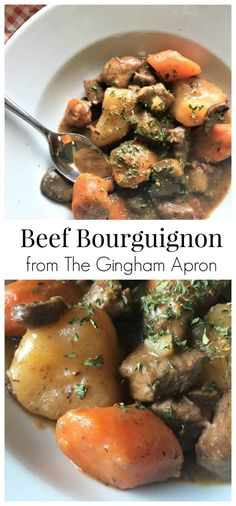 Beef Bourguignon- a delicious, hearty, scrumptious stew that's perfect for a cold day.