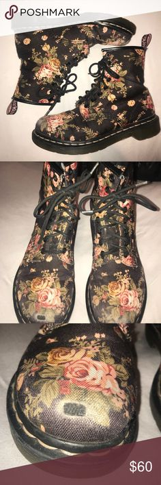 Floral Canvas Doc Martens Dr. Martens Women's 1460 Re-Invented Victorian Print Lace Up Boot in a US size 7. Canvas material.  Super chic and durable boots that can easily be dressed up or down!  Lightly used and in great condition, save for a small scuff on the right toe, as shown in picture 3. Dr. Martens Shoes Combat & Moto Boots