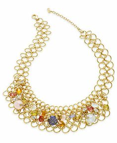 ABS by Allen Schwartz Gold-Tone Colorful Stone Linked Drama Necklace