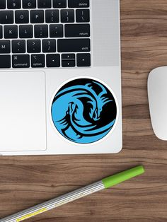 """""""Yin and Yang dragons, light blue"""" Sticker by cool-shirts 
