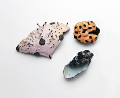 "Julie Blyfield, ""Scintilla Series Brooches"", oxidised sterling silver, enamel paint and wax."