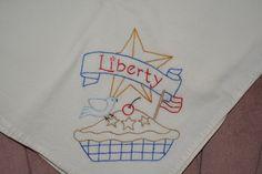 Hand Embroidered Flour Sack Tea Towel by ManyCharmedTreasures