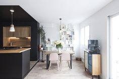〚 Stunning black kitchen makes the interior in Paris 〛 ◾ Photos ◾Ideas◾ Design Backyard Seating, Apartment Renovation, Nordic Design, Black Kitchens, Contemporary, Modern, Minimalism, House Design, Interior