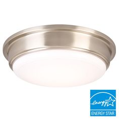 Hampton Bay Brushed Nickel LED Flushmount-IKE8091L-3 - The Home Depot  4 in basement, 2 in foyer, 1 in laundry room (Recessed fixture in bathroom - if surface mounted required, find chrome alternative for bathroom only)