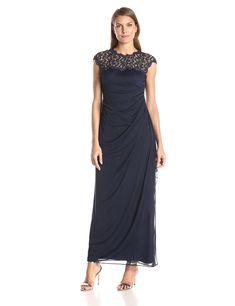 656cb98b5944f Alex Evenings Women's Metallic Cutout Lace Dress (Petite and Regular Sizes)  at Amazon Women's Clothing store: