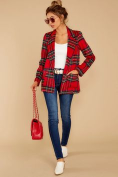 Time to find the most perfect Holiday Classic blazer to wear to all the seasonal parties. Girl, look no further. This blazer features a front button-up closure, a large notched collar, and front flat pockets. Plaid Blazer, Tartan Plaid, Plaid Fashion, Classic Films, Dress Me Up, Long Sleeve, Cotton, How To Wear, Outfits
