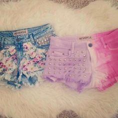 summer diy- like the pink and purple shorts I expecally like the studs on the purple side