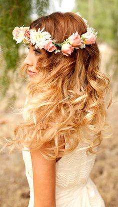 Beach bride's long down curls wedding hairstyle ideas Toni Kami Wedding Hairstyles ♥ ❷ flower crown