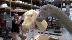Check this makingof jurassic World apatosaurus by Legacy Effects. Jurassic World's most touching scene, Legacy was asked to bring a gentle giant to life. Go behind the scenes with the Legacy team as they use both new and traditional methods to create an animatronic Dinosaur!