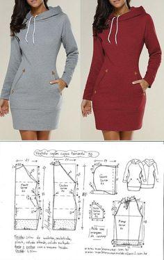 Elegant Photo of Custom Sewing Patterns Dress Sewing Patterns, Sewing Patterns Free, Clothing Patterns, Loom Patterns, Fashion Sewing, Diy Fashion, Fashion Outfits, Hoodie Pattern, Jacket Pattern