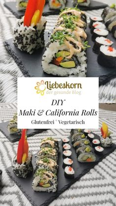 Veggie Sushi im Selbstversuch – Liebeskorn California Rolls, Veggie Sushi, Avocado, Veggies, Ethnic Recipes, Food, Gluten Free Recipes, Cooking, Simple