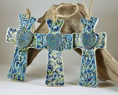 Ceramic crosses, handmade and high fired by Tipsy Mermaid Art.